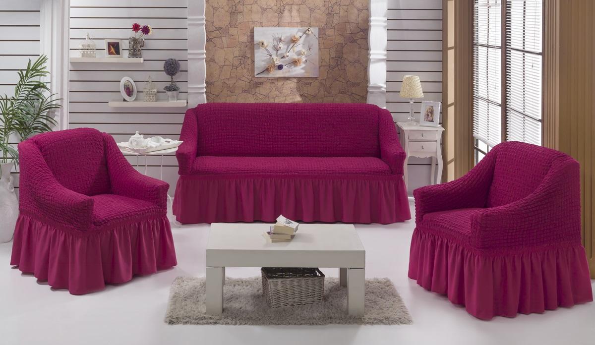 Набор чехлов для дивана и кресел Karna Bulsan, 3 шт, цвет: фуксия1717/CHAR013Набор Karna Bulsan состоит из чехла для трехместного дивана и двух чехлов для кресел. Универсальные чехлы изготовлены из высококачественного материала на основе полиэстера и хлопка и дополнены широкой юбкой, скрывающей низ мебели. Изделия оснащены фиксаторами, которые позволяют надежно закрепить чехол на мебели. Фиксаторы вставляются в расстояние между спинкой и сиденьем, фиксируя чехол в одном положении, и не позволяя ему съезжать и терять форму. Фиксаторы особенно необходимы в том случае, если у вас кожаная мебель или мебель нестандартных габаритов. Характеристики:Плотность: 360 гр/м2. Ширина и глубина посадочного места (кресло): 70-80 см. Высота спинки от посадочного места (кресло): 70-80 см Высота подлокотников (кресло): 35-45 см. Ширина подлокотников (кресло): 25-35 см. Ширина посадочного места (диван): 210-260 см. Глубина посадочного места (диван): 70-80 см Высота спинки от посадочного места (диван): 70-80 см. Ширина подлокотников (диван): 25-35 см.Высота юбки (диван и кресло): 35 см.