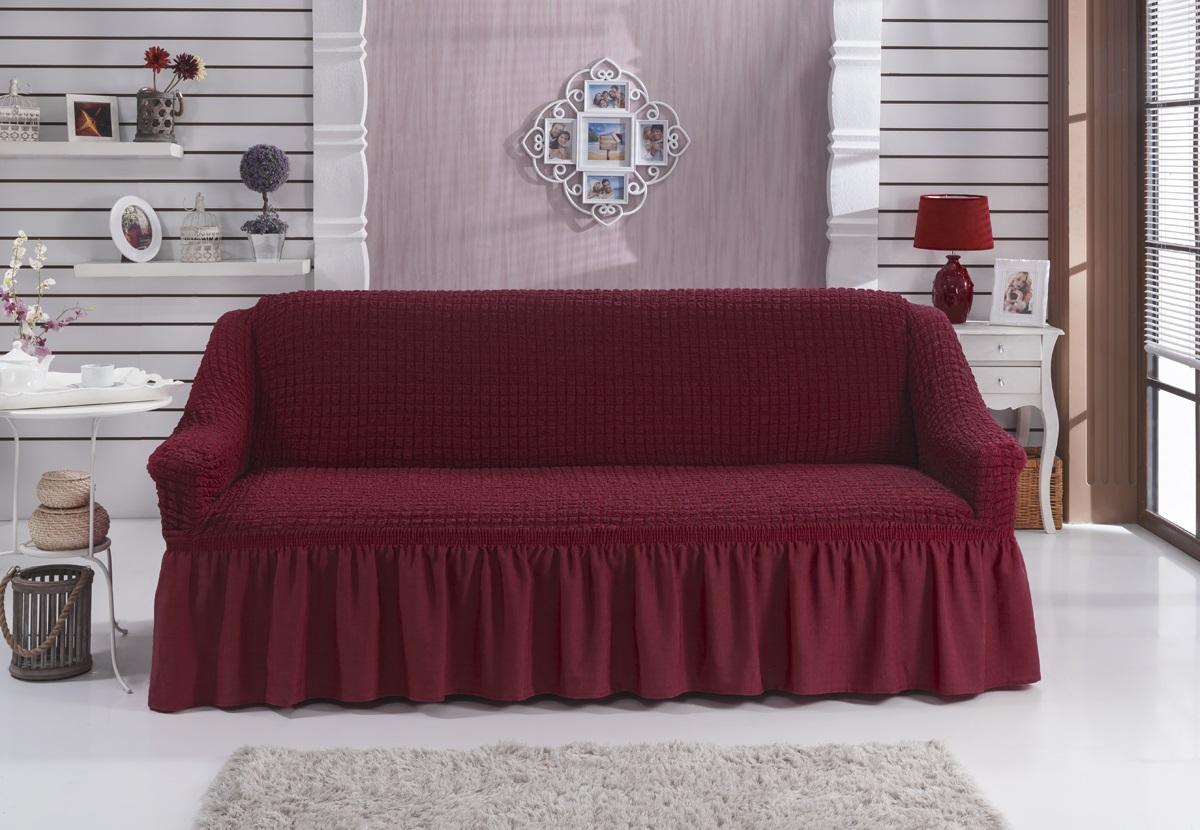 Чехол для дивана Karna Bulsan, трехместный, цвет: бордовый1796/CHAR002Универсальный чехол для трехместного дивана Karna Bulsan изготовлен из высококачественного материала на основе полиэстера и хлопка. Чехол оснащен фиксаторами, которые позволяют надежно закрепить его на мебели. Фиксаторы вставляются в расстояние между спинкой и сиденьем, фиксируя чехол в одном положении, и не позволяя ему съезжать и терять форму. Фиксаторы особенно необходимы в том случае, если у вас кожаная мебель или мебель нестандартных габаритов. Характеристики: Плотность: 360 гр/м2.Ширина посадочных мест: 210-260 см.Глубина посадочных мест: 70-80 см.Высота спинки от посадочного места: 70-80 см.Ширина подлокотников: 25-35 см.Высота юбки: 35 см.
