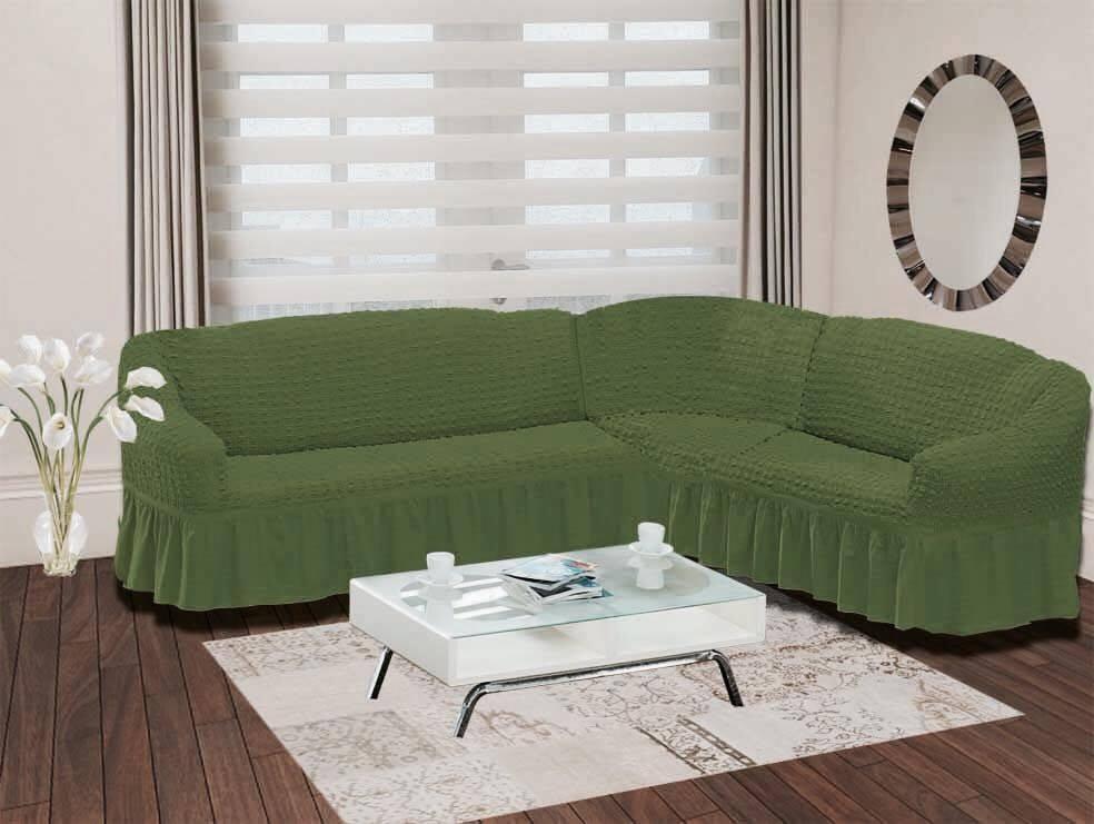 """Чехол для дивана Burumcuk """"Bulsan"""", угловой, правосторонний, пятиместный, цвет: зеленый"""