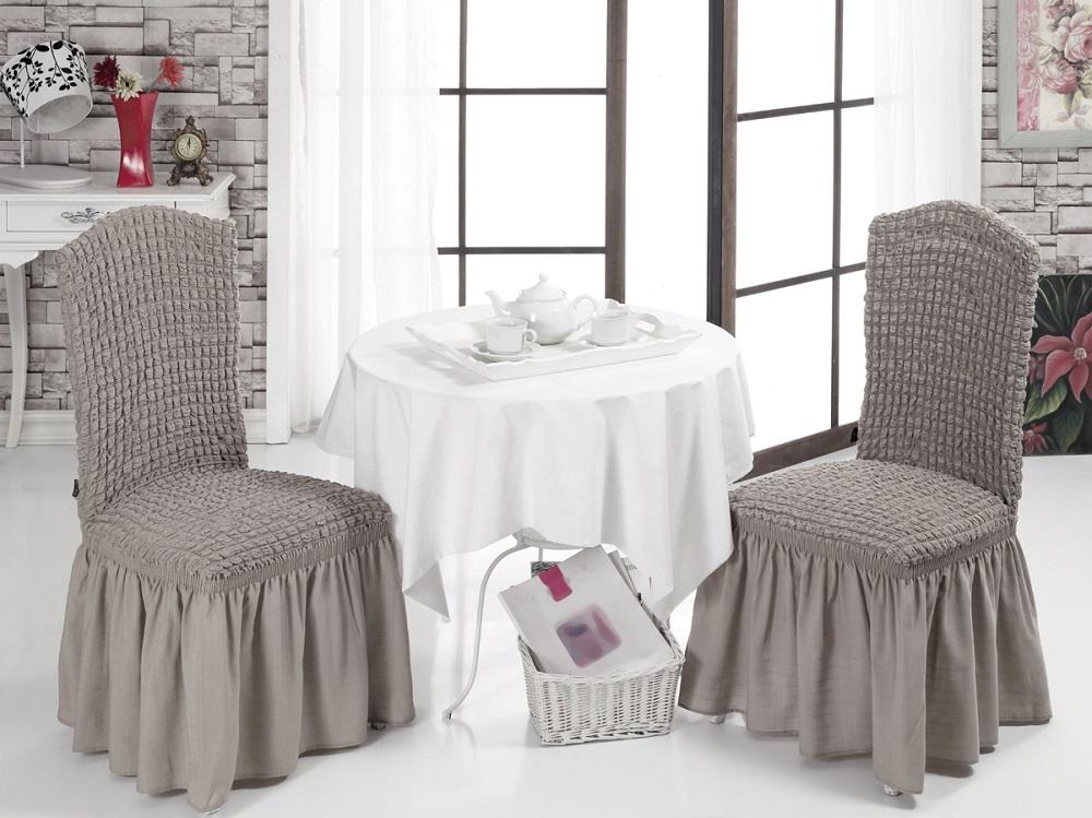 Набор чехлов для стульев Karna Bulsan, 2 шт, цвет: кофейный1906/CHAR001Набор Karna Bulsan состоит из двух универсальных чехлов для стульев, изготовленных из высококачественного материала на основе полиэстера и хлопка и дополненных широкой юбкой, скрывающей низ мебели.Изделия оснащены фиксаторами, которые позволяют надежно закрепить чехол на мебели. Фиксаторы вставляются в расстояние между спинкой и сиденьем, фиксируя чехол в одном положении, и не позволяя ему съезжать и терять форму. Фиксаторы особенно необходимы в том случае, если у вас кожаная мебель или мебель нестандартных габаритов.Характеристики: Плотность: 360 гр/м2.Ширина и длина посадочного места: 35+30 см. Высота спинки от посадочного места: 50+30 см. Ширина спинки: 35+30 см. Высота юбки: 35 см.