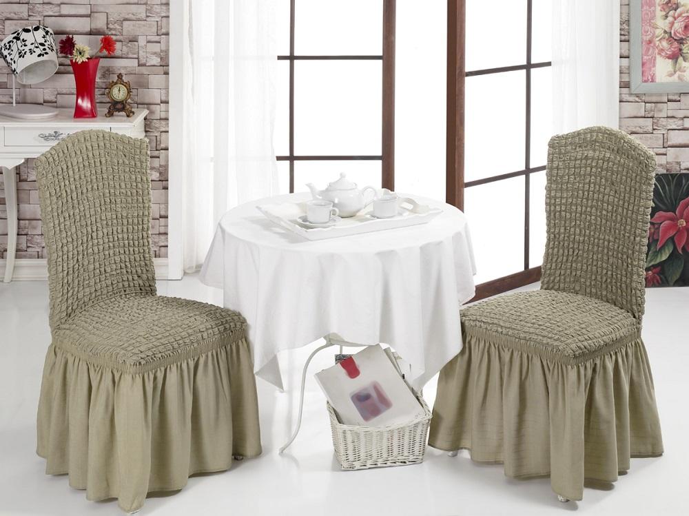 Набор чехлов для стульев Karna Bulsan, 2 шт, цвет: кофейный1906/CHAR002Набор Karna Bulsan состоит из двух универсальных чехлов для стульев, изготовленных из высококачественного материала на основе полиэстера и хлопка и дополненных широкой юбкой, скрывающей низ мебели. Изделия оснащены фиксаторами, которые позволяют надежно закрепить чехол на мебели. Фиксаторы вставляются в расстояние между спинкой и сиденьем, фиксируя чехол в одном положении, и не позволяя ему съезжать и терять форму. Фиксаторы особенно необходимы в том случае, если у вас кожаная мебель или мебель нестандартных габаритов. Характеристики:Плотность: 360 гр/м2. Ширина и длина посадочного места: 35+30 см.Высота спинки от посадочного места: 50+30 см.Ширина спинки: 35+30 см.Высота юбки: 35 см.