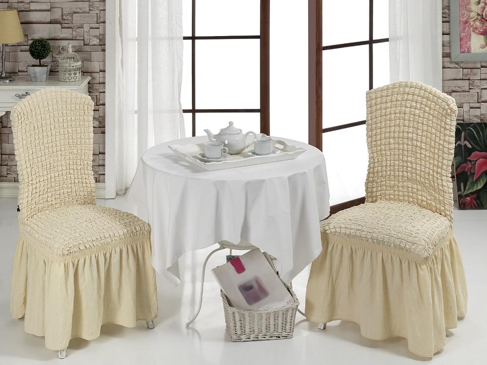 Набор чехлов для стульев Karna Bulsan, цвет: светло-бежевый, 2 шт1906/CHAR003Набор Karna Bulsan состоит из двух универсальных чехлов для стульев, изготовленных из высококачественного материала на основе полиэстера и хлопка и дополненных широкой юбкой, скрывающей низ мебели. Изделия оснащены фиксаторами, которые позволяют надежно закрепить чехол на мебели. Фиксаторы вставляются в расстояние между спинкой и сиденьем, фиксируя чехол в одном положении, и не позволяя ему съезжать и терять форму. Фиксаторы особенно необходимы в том случае, если у вас кожаная мебель или мебель нестандартных габаритов. Характеристики:Плотность: 360 гр/м2. Ширина и длина посадочного места: 35+30 см.Высота спинки от посадочного места: 50+30 см.Ширина спинки: 35+30 см.Высота юбки: 35 см.