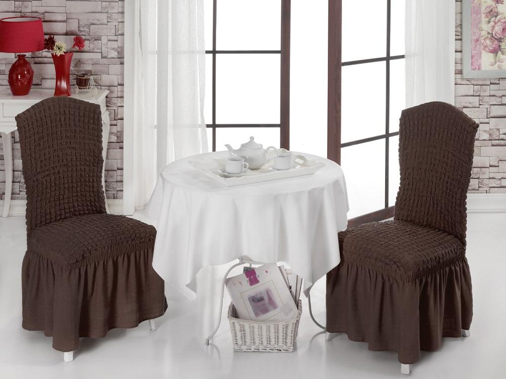 Набор чехлов для стульев Karna Bulsan, 2 шт, цвет: темно-коричневый1906/CHAR008Набор Karna Bulsan состоит из двух универсальных чехлов для стульев, изготовленных из высококачественного материала на основе полиэстера и хлопка и дополненных широкой юбкой, скрывающей низ мебели. Изделия оснащены фиксаторами, которые позволяют надежно закрепить чехол на мебели. Фиксаторы вставляются в расстояние между спинкой и сиденьем, фиксируя чехол в одном положении, и не позволяя ему съезжать и терять форму. Фиксаторы особенно необходимы в том случае, если у вас кожаная мебель или мебель нестандартных габаритов. Характеристики:Плотность: 360 гр/м2. Ширина и длина посадочного места: 35+30 см.Высота спинки от посадочного места: 50+30 см.Ширина спинки: 35+30 см.Высота юбки: 35 см.