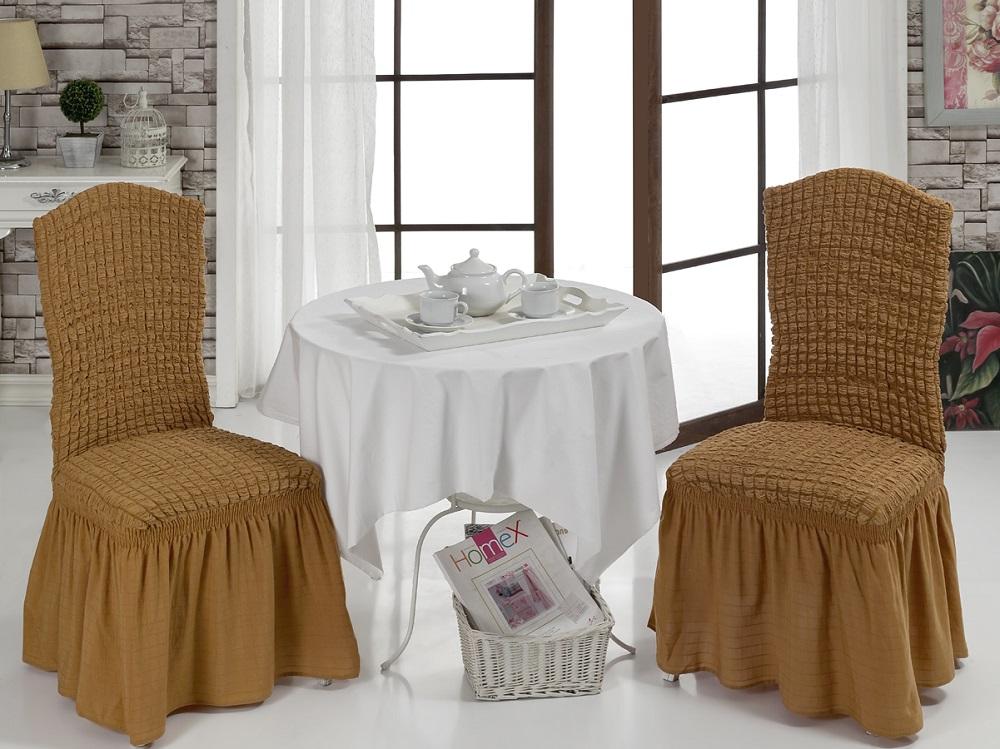 Набор чехлов для стульев Karna Bulsan, 2 шт, цвет: горчичный1906/CHAR011Набор Karna Bulsan состоит из двух универсальных чехлов для стульев, изготовленных из высококачественного материала на основе полиэстера и хлопка и дополненных широкой юбкой, скрывающей низ мебели. Изделия оснащены фиксаторами, которые позволяют надежно закрепить чехол на мебели. Фиксаторы вставляются в расстояние между спинкой и сиденьем, фиксируя чехол в одном положении, и не позволяя ему съезжать и терять форму. Фиксаторы особенно необходимы в том случае, если у вас кожаная мебель или мебель нестандартных габаритов. Характеристики:Плотность: 360 гр/м2. Ширина и длина посадочного места: 35+30 см.Высота спинки от посадочного места: 50+30 см.Ширина спинки: 35+30 см.Высота юбки: 35 см.