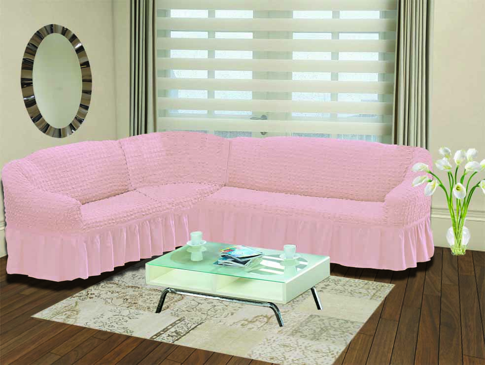 Чехол для дивана Burumcuk Bulsan, угловой, левосторонний, пятиместный, цвет: розовый1907/CHAR017Чехол для дивана Burumcuk выполнен из высококачественного полиэстера и хлопка с красивым рельефом. Предназначен для углового дивана. Такой чехол изысканно дополнит интерьер вашего дома. Ширина посадочных мест короткой стороны: 140-190 см.Ширина посадочных мест длинной стороны: 210-260 см. Глубина посадочных мест: 70-80 см. Высота спинки от посадочного места: 70-80 см. Ширина подлокотников: 25-35 см. Высота юбки: 35 см. Тянется: + 30 см.