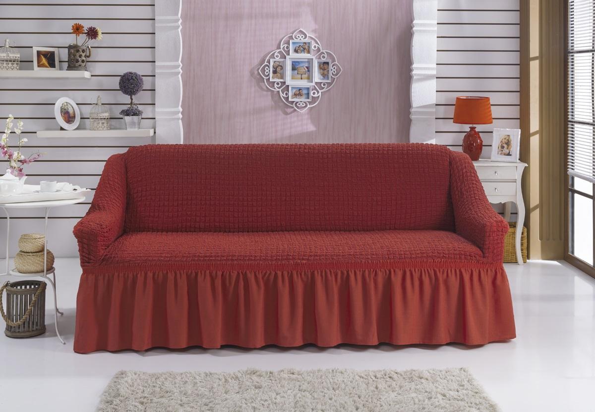 Чехол для дивана Karna Bulsan, двухместный, цвет: кирпичный2027/CHAR007Фиксаторы позволяют надежно закрепить чехол Karna Bulsan на вашей мебели. Они вставляются в расстояние между спинкой и сиденьем, фиксируя чехол в одном положении, и не позволяют ему съезжать и терять форму. Фиксаторы особенно необходимы в том случае, если у вас кожаная мебель или мебель нестандартных габаритов. Выполнен чехол из высококачественного полиэстера и хлопка.Ширина посадочных мест: 140-180 см.Глубина посадочных мест: 70-80 см.Высота спинки от посадочного места: 70-80 см.Ширина подлокотников: 25-35 см.Высота юбки: 35 см.