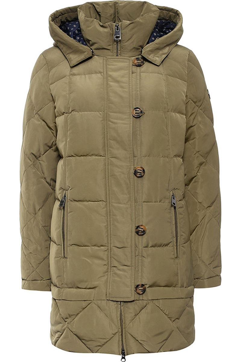 Пальто женское Finn Flare, цвет: оливковый. W16-12018_901. Размер M (46)W16-12018_901Стильное женское пальто Finn Flare изготовлено из высококачественного полиэстера. В качестве утеплителя используется пух с добавлением пера.Модель с воротником-стойкой и съемным капюшоном застегивается на застежку-молнию и дополнительно на клапан с пуговицами. Капюшон, дополненный регулирующим эластичным шнурком, пристегивается к пальто с помощью кнопок. Спереди расположены два прорезных кармана на застежках-молниях. Манжеты рукавов дополнены трикотажными напульсниками.
