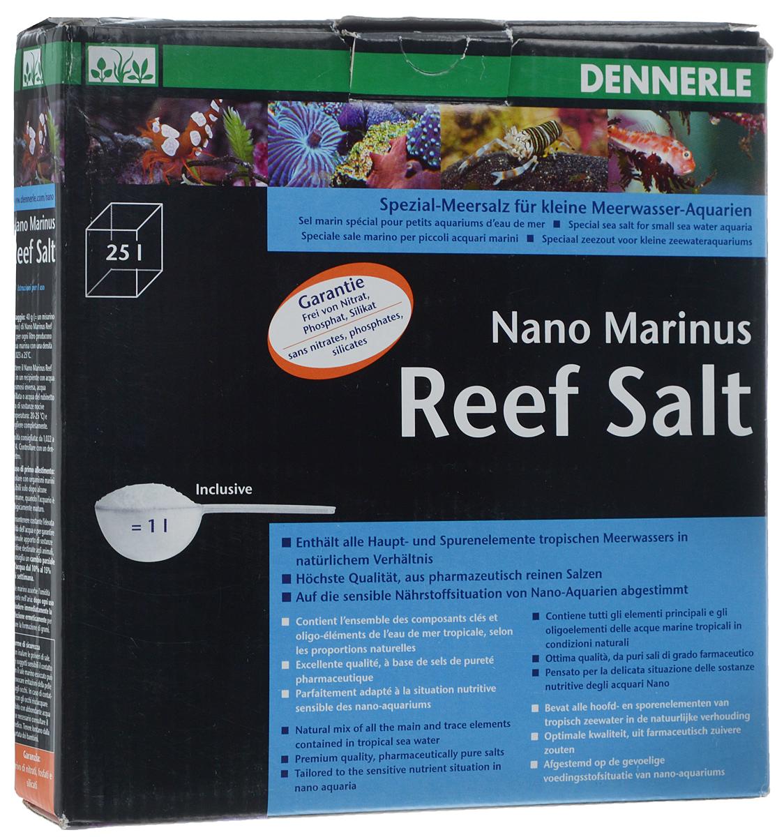 Морская соль Dennerle Nano Marinus ReefSalt, 1 кгDEN5625Морская соль Dennerle Nano Marinus ReefSalt содержит все основные микроэлементы тропической морской воды в естественном соотношении. Dennerle Nano Marinus ReefSalt - идеальная основа жизни для коралловых раб, твердых и мягких кораллов, креветок, а также всех прочих обитателей коралловых рифов. Соль составлена с учетом повышенной чувствительности нано-аквариумов к питательным веществам.Не содержит нитратов, фосфатов, силикатов.В комплекте идет мерная ложечка.