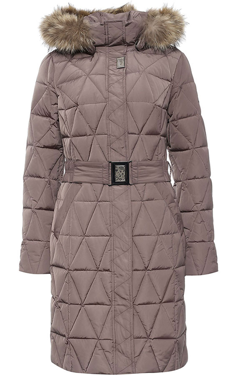 Пальто женское Finn Flare, цвет: серо-бежевый. W16-11015_623. Размер M (46)W16-11015_623Стильное женское пальто Finn Flare изготовлено из высококачественного полиэстера. В качестве утеплителя используется пух с добавлением пера.Модель с воротником-стойкой и съемным капюшоном, оформленным съемным натуральным мехом енота, застегивается на застежку-молнию и дополнительно на клапан с кнопками. Капюшон, дополненный регулирующим эластичным шнурком, пристегивается к пальто с помощью кнопок. Спереди расположены два прорезных кармана на кнопках. Манжеты рукавов дополнены трикотажными напульсниками. На талии модель дополнена эластичным поясом с металлической пряжкой.