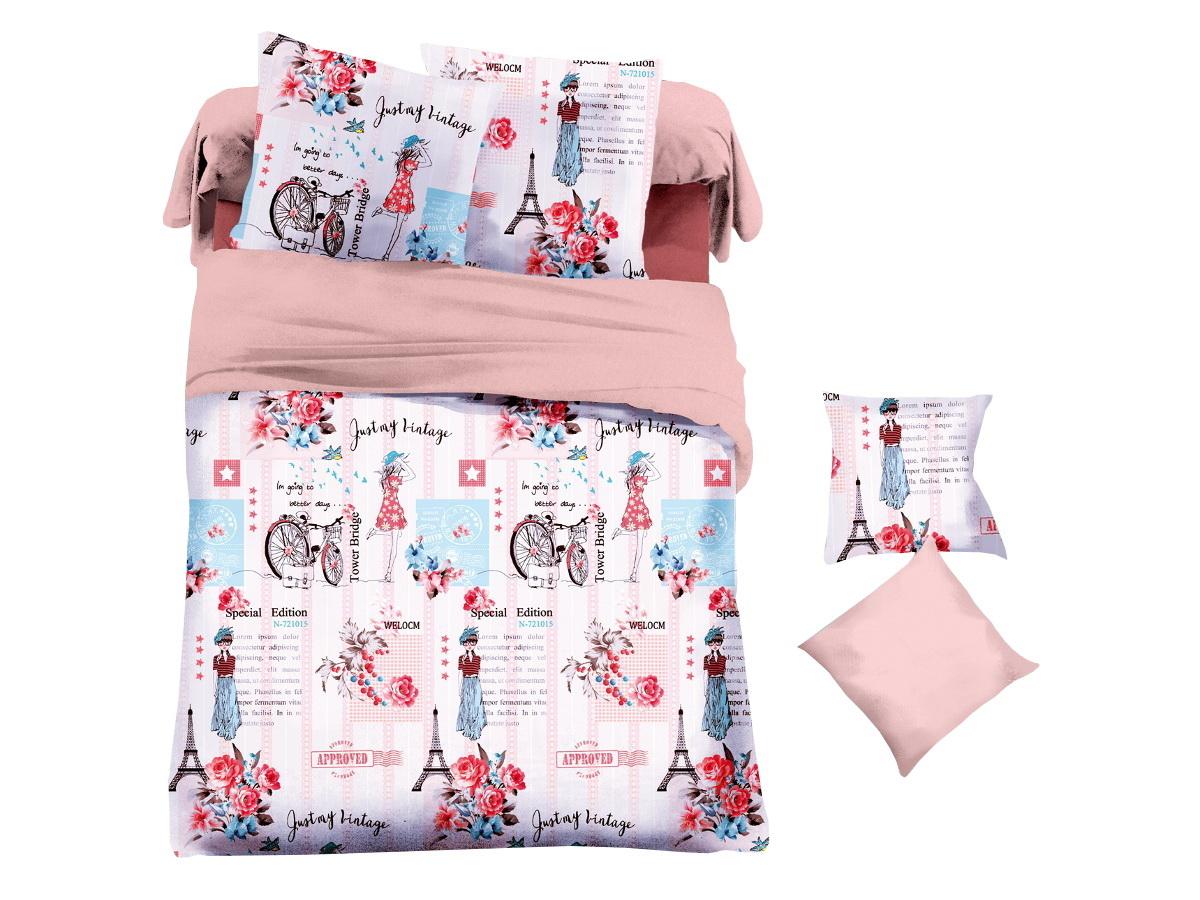 Комплект белья Cleo Прогулка по Парижу, 2-спальный, наволочки 70х7020/041-PLКоллекция постельного белья из микросатина CLEO – совершенство экономии, но не на качестве! Благодаря новейшим технологиям микросатин – это прочность, легкость, простота в уходе, всегда яркие цвета после стирки. Микро-сатин набирает все большую популярность, благодаря своим уникальным характеристикам. Окраска материала - стойкая, цветовая палитра - яркая, насыщенная. Микро-сатин хорошо впитывает влагу, а после стирки быстро сохнет, становясь шелковистым на ощупь, мягким и воздушным. Комплект состоит из пододеяльника, двух наволочек и простыни.