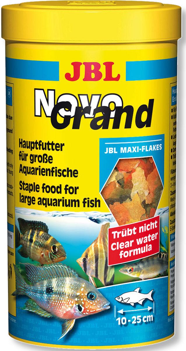 JBL NovoGrand Основной корм в форме крупных хлопьев для крупных видов рыб, 1000 мл (180 г) jbl novocrabs корм для панцирных ракообразных 100 мл 45 г
