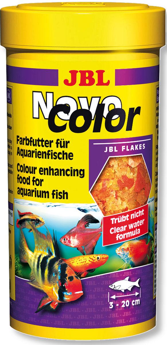 Корм JBL NovoColor для ярких аквариумных рыб, в форме хлопьев, 250 мл (45 г)JBL3015700Корм JBL NovoColor - это полноценный корм для оптимального роста и яркой окраски тропических пресноводных рыб: 50 природных ингредиентов в 7 видах хлопьев. Благодаря различным размерам хлопьев подходит для всех видов рыб от 3 до 20 см, обитающих в среднем и верхнем слоях воды. Корм питательный и легко усваивается. Не вызывает помутнения воды, сокращает рост водорослей благодаря правильному содержанию фосфатов, улучшает качество воды, в результате хорошей усвояемости снижается количество экскрементов рыб. Не содержит рыбной муки низкого качества, использована рыба от производства филе для людей. Рекомендации по кормлению: 1-2 раза в день давайте столько, сколько рыбы съедают за несколько минут. Молодых растущих рыб кормите 3-4 раза в день таким же образом. Состав: рыба и рыбные побочные продукты, злаки, моллюски и ракообразные, растительные побочные продукты, овощи, экстракты растительного белка, дрожжи, яйца и продукты из яиц. Анализ состава: белок 43%, жир 8,5%, клетчатка 1,9%, зола 9%. Добавки: Инозитол 1200 mg, Витамин А 34000 I. E., Витамин Е 400 mg, Витамин C (стабильный) 500 mg, Витамин D3 3000 I. E. Товар сертифицирован.