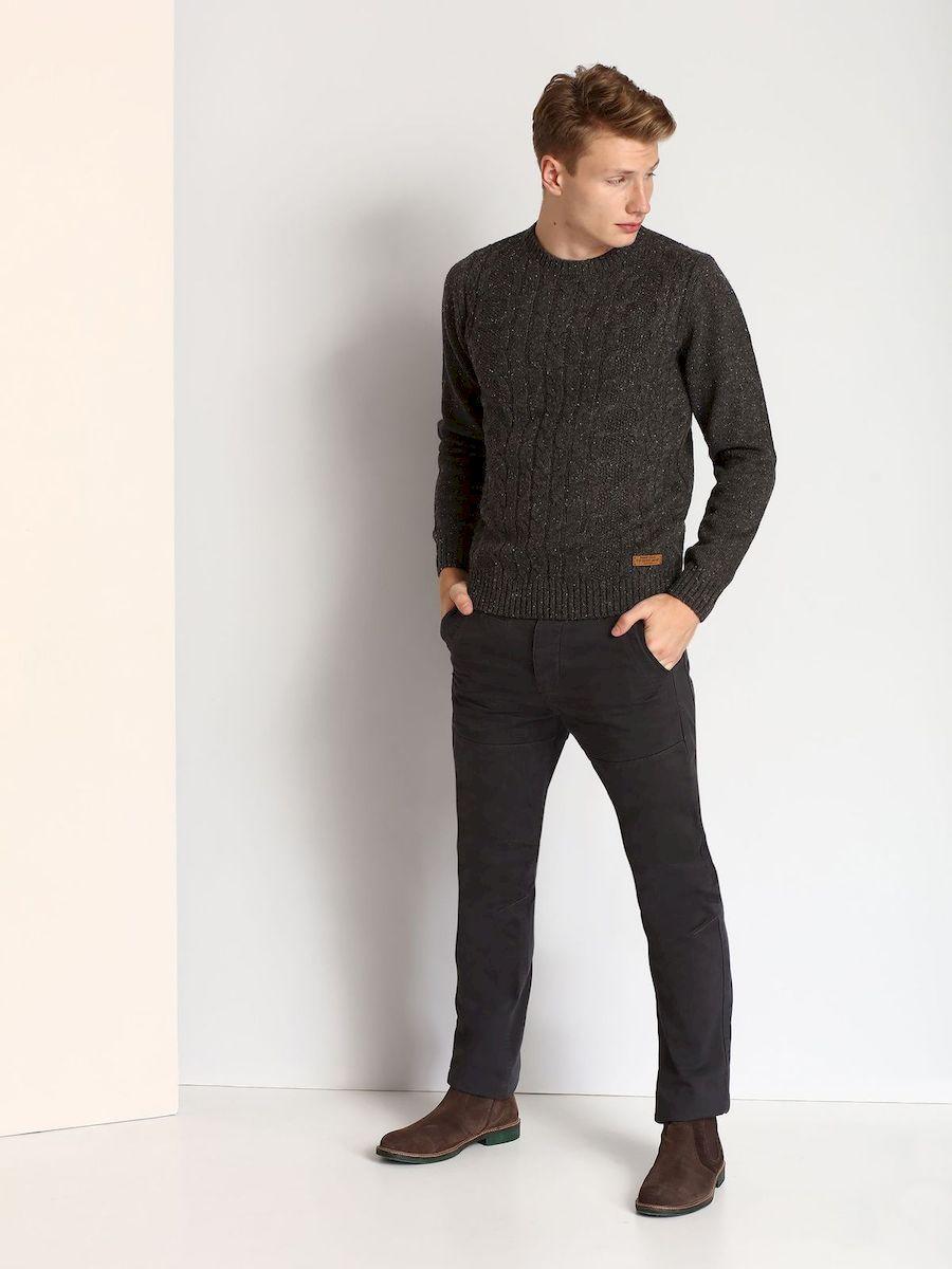 Джемпер мужской Top Secret, цвет: темно-серый. SSW2053ZI. Размер L (50) футболка мужская top secret цвет белый серый горчичный spo2881bi размер l 50