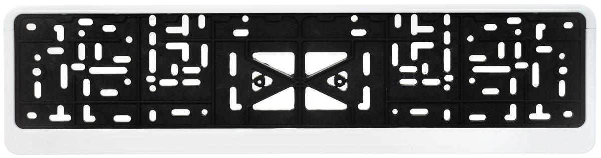 Рамка под номер Skyway, с защелкой, 53 х 13,5 х 1,3 смS04102001Рамка под номер Skyway изготовлена из морозостойкого пластика и имеет надежное крепление с защелкой. Изделие предназначено для того, чтобы фиксировать номерной знак на автомобиле, защищая от соприкосновения его с кузовом, а также для защиты от кражи. Быстро устанавливается и надолго сохраняет внешний вид.