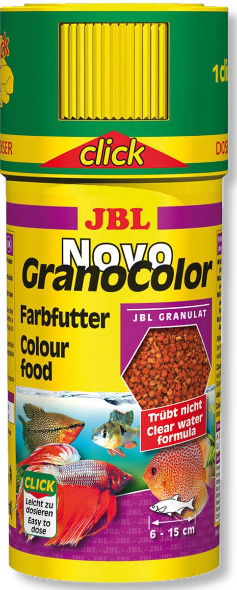 Корм JBL NovoGranoColor Click для особенно яркой окраски рыб, в форме гранул, 250 мл (107 г)JBL3010400Корм JBL NovoGranoColor Click - полноценный корм для оптимального роста и яркой окраски тропических пресноводных рыб размером 6-15 см, кормящихся во всех слоях воды. Корм выполнен в виде плавучих и тонущих гранул, питательный и легко усваивается, подходит для автокормушки. Отборное сырье усиливает окраску. Корм не вызывает помутнения воды, сокращает рост водорослей благодаря правильному содержанию фосфатов, улучшает качество воды, в результате хорошей усвояемости снижается количество экскрементов рыб. Не содержит рыбной муки низкого качества, использована рыба от производства филе для людей. Рекомендации по кормлению: 1-2 раза в день давайте столько, сколько рыбы съедают за несколько минут. Молодых растущих рыб кормите 3-4 раза в день тем же способом. Состав: моллюски и ракообразные, злаки, рыба и рыбные побочные продукты, растительные побочные продукты, овощи, экстракты растительного белка, масла и жиры. Анализ состава: белок 40%, жир 7%, клетчатка 3%, зола 7%. Товар сертифицирован.