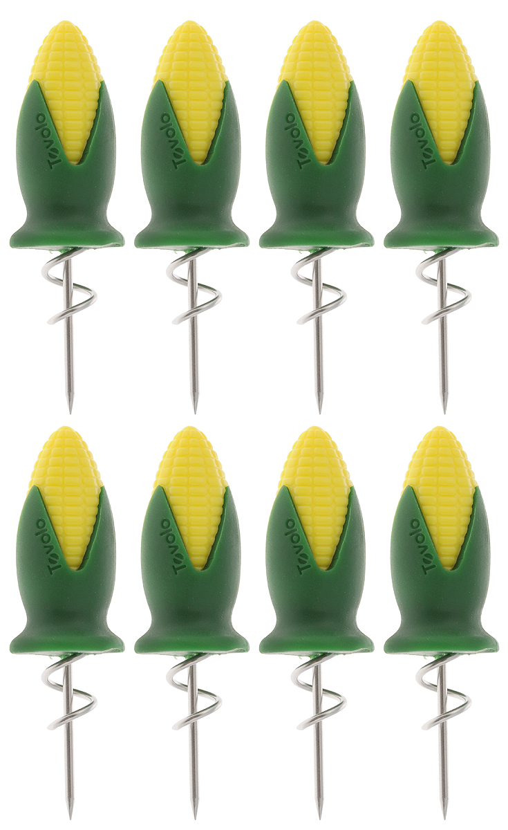 Набор держателей для кукурузы Tovolo, 8 шт80-14018Набор Tovolo состоит из 8 держателей, изготовленных из нержавеющей стали. Изделия идеально подойдут для употребления горячей кукурузы. Удобные ручки этих приспособлений, выполненные из прочного пластика, обеспечат надежное удерживание початков. Можно мыть в посудомоечной машине.Длина держателя: 8 см.