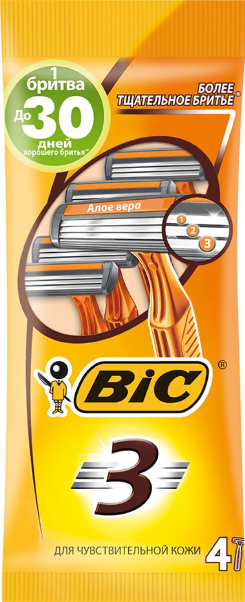Bic Бритва Bic3 для чувствительной кожи, уп.4 шт8729022Бритвенный станок с тремя лезвиями. Фиксированная головка. Хромо-полимерное покрытие. Увлажняющая полоска с Алоэ-Вераи витамином Е. Изогнутая и ребристая ручка.