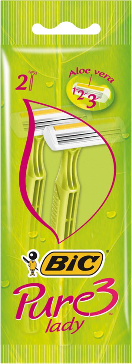 Bic Бритва Pure3 Lady, уп.2 шт889702Бритвенный станок с тремя лезвиями для женского бритья. Фиксированная головка. Хромо-полимерное покрытие. Увлажняющая полоска с Алоэ-Вера. Изогнутая и ребристая ручка.
