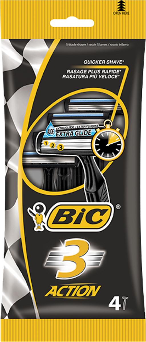 Bic Бритва Bic3 Экшен, уп.4 шт919435Три лезвия с хромо-полимерным покрытием для мягкого и тщательного бритья. Фиксированная головка. Увлажняющая полоска с витамином Е. Изогнутая ребристая ручка.