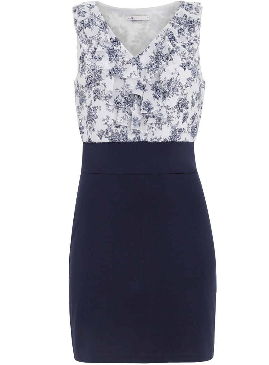 Платье oodji Ultra, цвет: синий, белый. 14005124/42376/7910F. Размер XS (42)14005124/42376/7910FПлатье oodji Ultra имеет стилизованный под блузку и юбку верх и низ. Верх платья выполнен без рукавов со свободным кроем из легкой воздушной ткани с отделанным оборками V-образным воротником. Низ платья выполнен из облегающей ткани. Изделие имеет длину чуть выше колена.