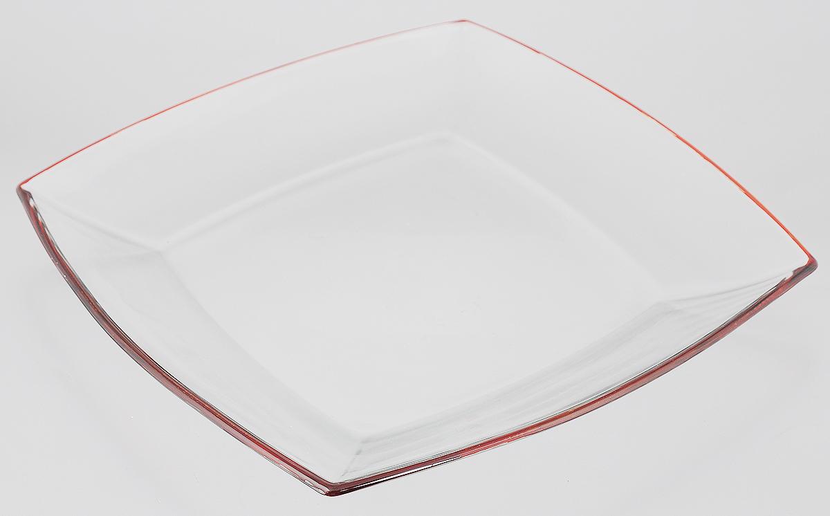 Тарелка Pasabahce Tokio, цвет: прозрачный, оранжевый, 26,5 х 26,5 см54087ORТарелка Pasabahce Tokio выполнена из качественного стекла и украшена цветной окантовкой. Известно каждому, что еда способна утолить голод, а вкусная еда - еще и приносить удовольствие. Но только став обладателем такой тарелки, можно понять, что еда - это еще и возможность создать себе прекрасное настроение. Размеры тарелки позволяют легко вместить даже самую большую порцию.Подходит для хранения в холодильнике. Размер тарелки: 26,5 х 26,5 см.