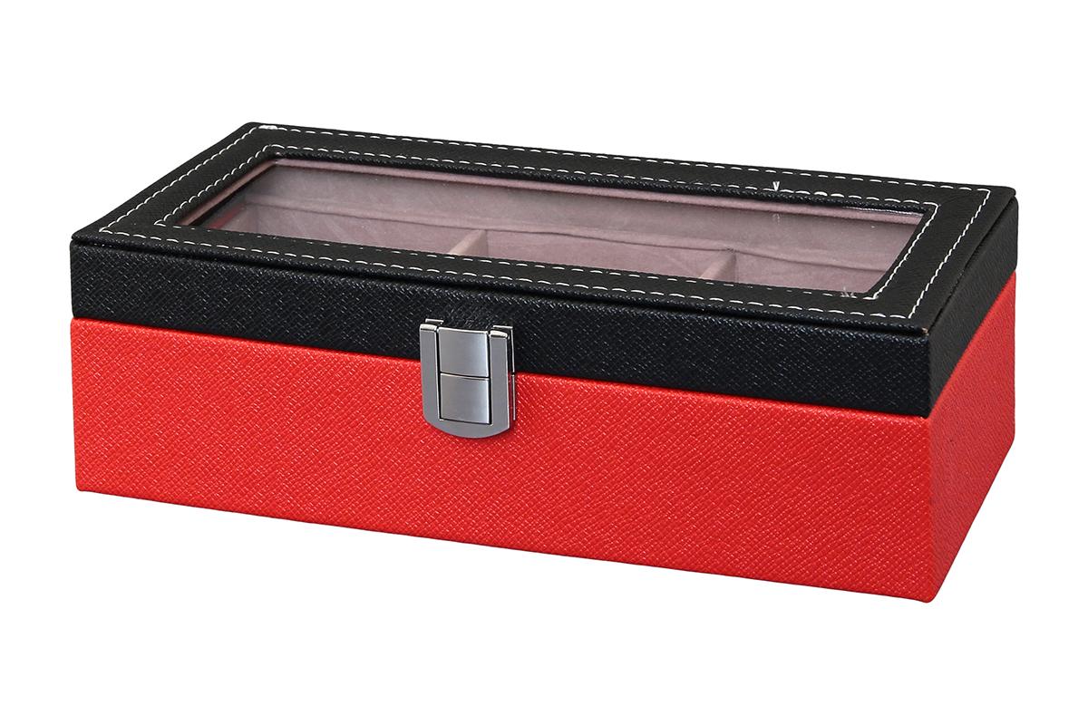 Шкатулка для хранения часов El Casa, цвет: черный, красный, 23 х 10 х 8 см171461Шкатулка El Casa, выполненная из МДФ, предназначена для хранения часов. Внутри шкатулки 3 секции с подушечками. Снаружи шкатулка обтянута искусственной кожей с декоративным тиснением. Шкатулка закрывается на замок-защелку. Крышка изделия оформлена прозрачной вставкой. Классический элегантный дизайн делает такую шкатулкуэффектным подарком как мужчине, так и женщине. Если вы привыкли бережно и аккуратно обращаться с каждой из своих вещей, то наверняка согласитесь, чтоприкроватная тумбочка или стеклянная полочка в ванной - не идеальное место для хранения наручных часов: ихможно нечаянно уронить, а поутру в спешке и вовсе забыть, где они вчера были сняты. Простым и эффектнымрешением в этом случае станет элегантная шкатулка для часов. Изнутри она покрыта мягким и приятным на ощупьматериалом. Он убережет помещенные в шкатулку часы от пыли, царапин и прочих механических повреждений.