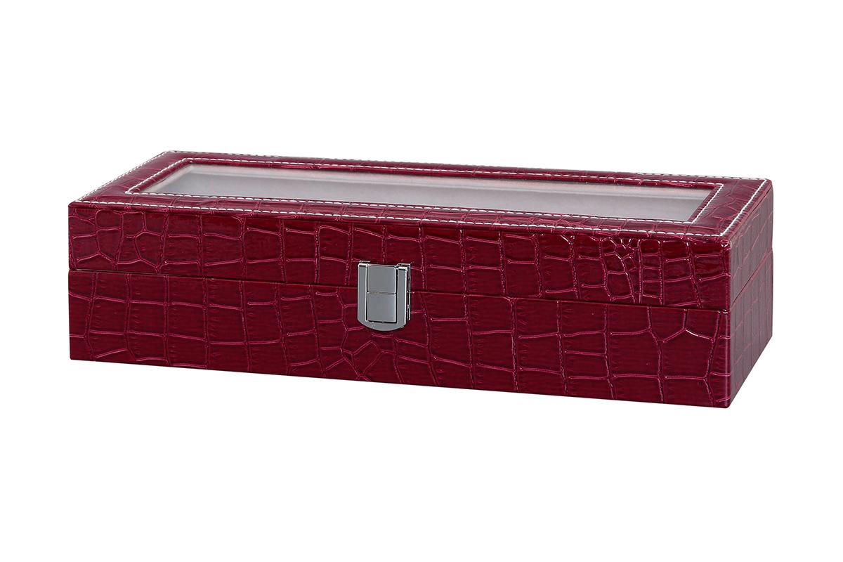 Шкатулка для хранения часов El Casa, цвет: бордовый, 30,5 х 11,5 х 8 см171465Шкатулка El Casa, выполненная из МДФ, предназначена для хранения часов. Внутри шкатулки 6 секций с подушечками. Снаружи шкатулка обтянута искусственной кожей с декоративным тиснением. Шкатулка закрывается на замок-защелку. Крышка изделия оформлена прозрачной вставкой. Классический элегантный дизайн делает такую шкатулкуэффектным подарком как мужчине, так и женщине. Если вы привыкли бережно и аккуратно обращаться с каждой из своих вещей, то наверняка согласитесь, чтоприкроватная тумбочка или стеклянная полочка в ванной - не идеальное место для хранения наручных часов: ихможно нечаянно уронить, а поутру в спешке и вовсе забыть, где они вчера были сняты. Простым и эффектнымрешением в этом случае станет элегантная шкатулка для часов. Изнутри она покрыта мягким и приятным на ощупьматериалом. Он убережет помещенные в шкатулку часы от пыли, царапин и прочих механических повреждений.