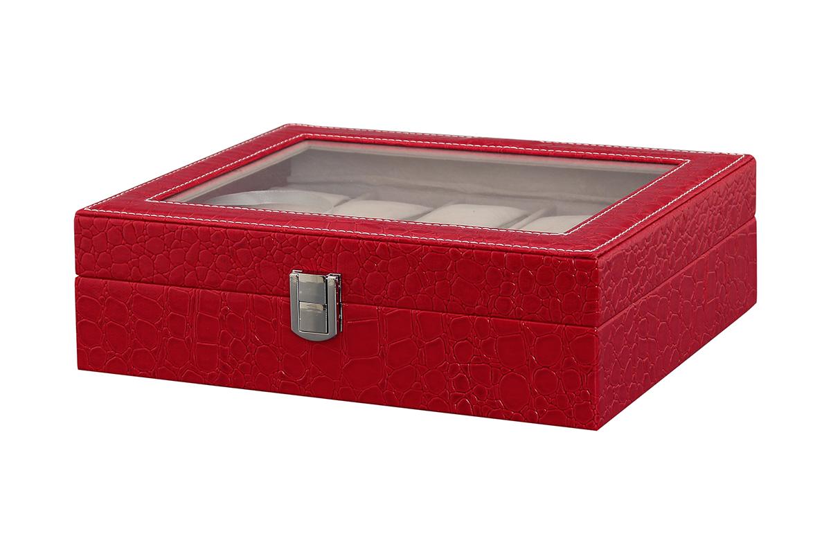 Шкатулка для хранения часов El Casa, цвет: красный, 25,5 х 21 х 7,5 см171467Шкатулка El Casa, выполненная из МДФ, предназначена для хранения часов. Внутришкатулки 10 секций с подушечками. Снаружи шкатулка обтянутаискусственной кожей с декоративным тиснением. Шкатулка закрывается на замок-защелку.Крышка изделия оформлена прозрачнойвставкой. Классический элегантный дизайн делает такую шкатулку эффектным подарком как мужчине, так и женщине.Если вы привыкли бережно и аккуратно обращаться с каждой из своих вещей, то навернякасогласитесь, что прикроватная тумбочка или стеклянная полочка в ванной - не идеальное место для хранениянаручных часов: их можно нечаянно уронить, а поутру в спешке и вовсе забыть, где они вчера были сняты.Простым и эффектным решением в этом случае станет элегантная шкатулка для часов. Изнутри она покрыта мягкими приятным на ощупь материалом. Он убережет помещенные в шкатулку часы от пыли, царапин и прочихмеханических повреждений.