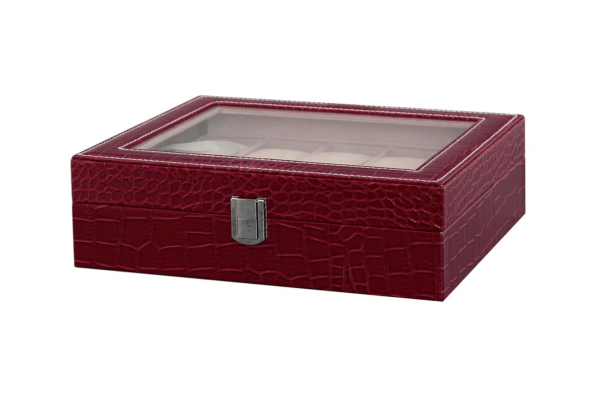 Шкатулка для хранения часов El Casa, цвет: бордовый, 25,5 х 21 х 7,5 см171468Шкатулка El Casa, выполненная из МДФ, предназначена для хранения часов. Внутри шкатулки 10 секций с подушечками. Снаружи шкатулка обтянута искусственной кожей с декоративным тиснением. Шкатулка закрывается на замок-защелку. Крышка изделия оформлена прозрачной вставкой. Классический элегантный дизайн делает такую шкатулкуэффектным подарком как мужчине, так и женщине. Если вы привыкли бережно и аккуратно обращаться с каждой из своих вещей, то наверняка согласитесь, чтоприкроватная тумбочка или стеклянная полочка в ванной - не идеальное место для хранения наручных часов: ихможно нечаянно уронить, а поутру в спешке и вовсе забыть, где они вчера были сняты. Простым и эффектнымрешением в этом случае станет элегантная шкатулка для часов. Изнутри она покрыта мягким и приятным на ощупьматериалом. Он убережет помещенные в шкатулку часы от пыли, царапин и прочих механических повреждений.