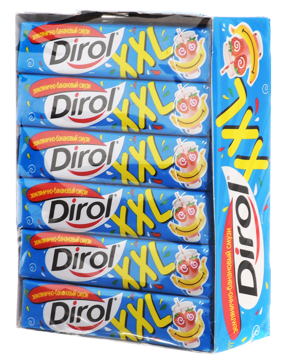Dirol Землянично-банановый смузи жевательная резинка без сахара, 18 пачек по 19 г dirol жевательная резинка арбузно дынный коктейль без сахара 30 пачек по 13 6 г