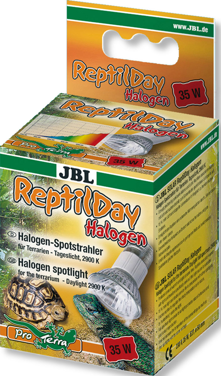 Галогеновая лампа для террариума JBL ReptilDay Halogen, 35 ВтJBL6184100Галогеновая лампа для террариума JBL ReptilDay Halogenгенерирует одновременно тепло и свет. Рептилииассоциируют тепло со светом и целенаправленнонаправляются к источнику света, чтобы принять солнечныеванны. С помощью таких солнечных ванн рептилияобеспечивает себе естественную регуляцию тепла. Полныйспектр лампы, аналогичный солнечному спектру, стимулируетестественное поведение и обеспечивает хорошуюцветопередачу.Лампа JBL ReptilDay Halogen на 15% ярче и имеет вдвоебольший срок службы по сравнению с традиционнымисветильниками. Незначительно повышает температурувоздуха по сравнению с традиционными светильникамиподобной мощности. Занимает немного места. Корпуспрочный и менее ломкий.Тип цоколя: Е27.Напряжение: 230 В.Температура света: 2900 К.