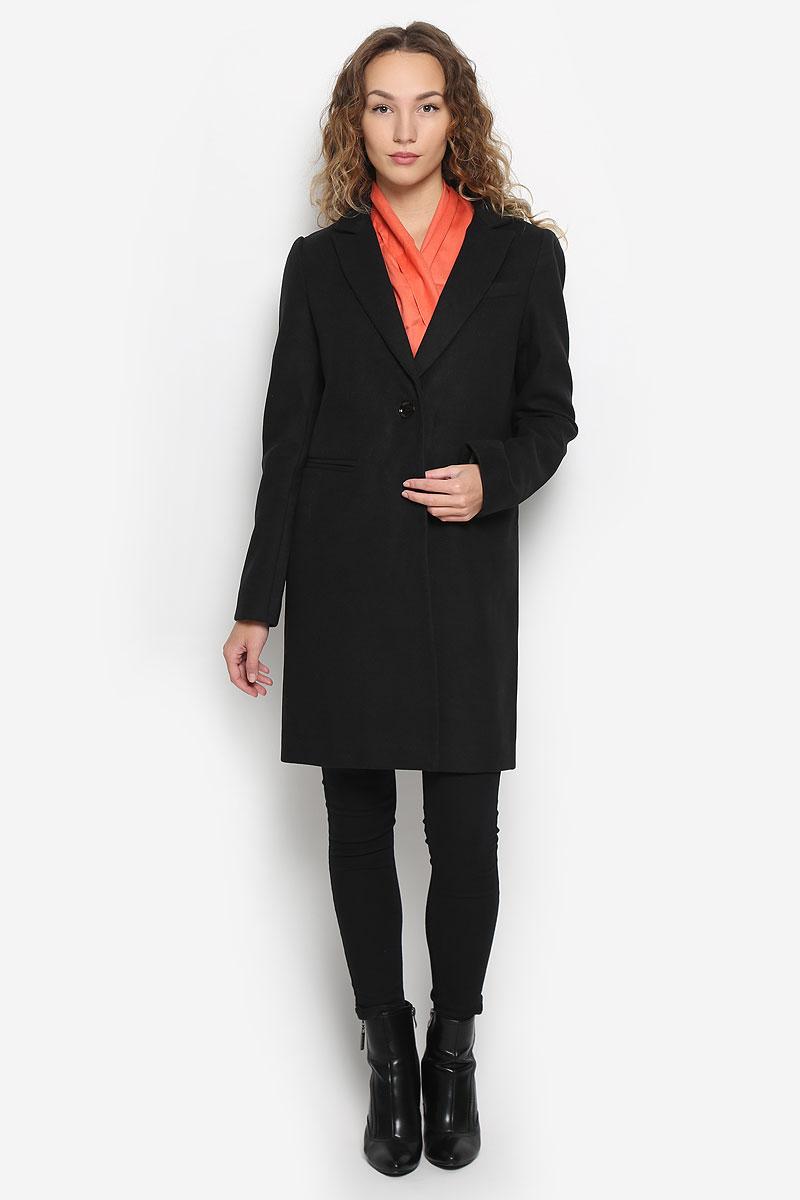Купить Пальто женское oodji Ultra, цвет: черный. 10103019/45628/2900N. Размер 40 (46-170)