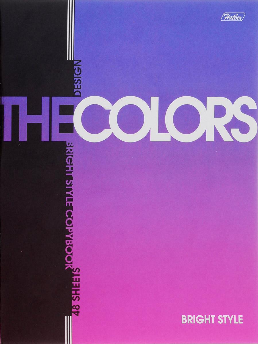 Hatber Тетрадь The Colors 48 листов в клетку цвет фиолетовый48Т5мтВ1_14481_Тетрадь Hatber из серии The Colors отлично подойдет для занятий школьнику, студенту или для различных записей.Обложка, выполненная из плотного металлизированного картона, украшена изображением английских букв.Внутренний блок тетради, соединенный металлическими скрепками, состоит из 48 листов белой бумаги в голубую клетку с полями.