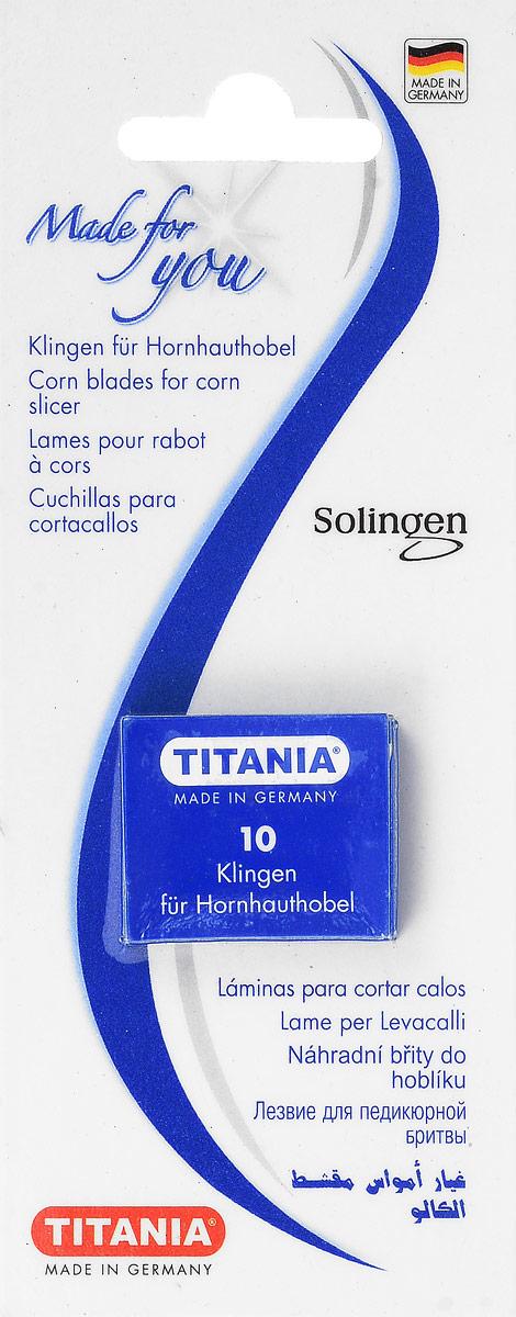 Titania Лезвие для скребка4008576310017Лезвие для педикюрной бритвы качества Softtouch гарантирует безболезненное удаление огрубевшей кожи и мозолей благодаря острому двустороннему лезвию. (10 лезвий)