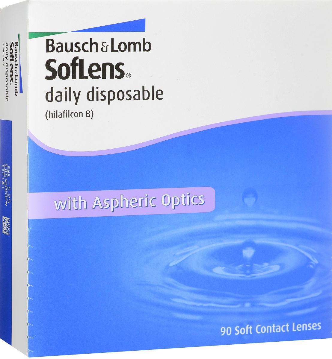 Bausch + Lomb контактные линзы Soflens Daily Disposable (90шт / 8.6 / -5.25)07571Контактные линзы SofLens Daily Disposable - это однодневные гидрогелевые линзы с асферическим дизайном и увлажняющим компонентом, который содержится в растворе блистера. Преимущество однодневных линз заключается в том, что проблема ухода за линзами и потеря качества снимаются автоматически. Тончайший дизайн и превосходные свойства материала (хилафилкон Б) высокого влагосодержания гарантируют постоянное увлажнение поверхности линзы и комфорт на целый день.Улучшенный дизайн исключает сферические аберрации, обеспечивая четкость зрения. Линзы подходят для эксплуатации в условиях недостаточной освещенности. Эластичный и мягкий полимер (хилафилкон Б) защищает от слезотечения даже тех, кто впервые пользуется линзами. Для облегчения манипуляций с линзами разработана специальная эргономичная упаковка.Новые однодневные контактные линзы SofLens Daily Disposable идеально подойдут людям, пользующимся контактными линзами от случая к случаю (1-2 раз в неделю), которые ведут активный образ жизни, увлекаются путешествиями и спортом. SofLens Daily Disposable подойдут и тем, кто имеет склонность к аллергическим реакциям.Замена каждый день. Характеристики:Материал: хилафилкон Б. Кривизна: 8.6. Оптическая сила: - 5.25. Содержание воды: 59%. Диаметр: 14,2 мм. Количество линз: 90 шт. Размер упаковки: 16 см х 3,5 см х 16,5 см. Производитель: Ирландия. Товар сертифицирован.Контактные линзы или очки: советы офтальмологов. Статья OZON Гид