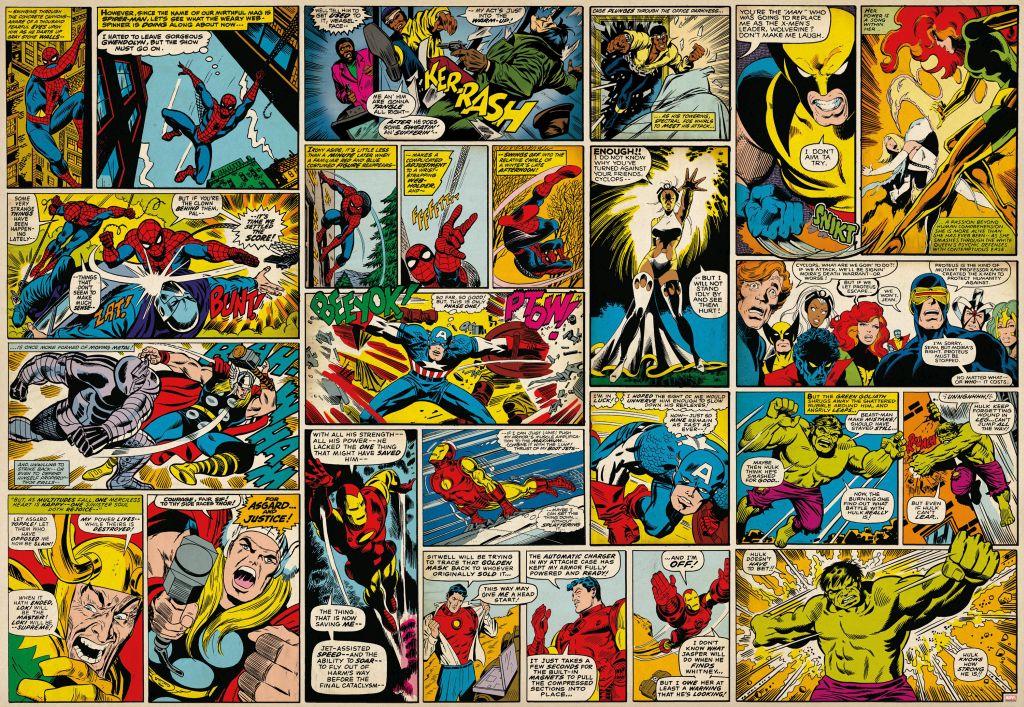 Фотообои Komar Герои комиксов Marvel, 3,68 х 2,54 м8-427Бумажные фотообои известного бренда Komar по мотивам комиксов Marvel позволят создать неповторимый облик помещения, в котором они размещены. Фотообои наносятся на стены тем же способом, что и обычные обои. Благодаря превосходной печати и высококачественной основе такие обои будут радовать вас долгое время. Фотообои снова вошли в нашу жизнь, став модным направлением декорирования интерьера. Выбрав правильную фактуру и сюжет изображения можно добиться невероятного эффекта живого присутствия.Ширина рулона: 3,68 м.Высота полотна: 2,54 м. Клей в комплекте.