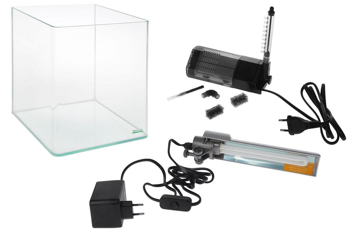 Комплект Dennerle NanoCube Complete, 20 лDEN5901Комплект Dennerle NanoCube Complete включает в себя аквариум, стеклянную крышку, черный фон, коврик, фильтр Dennerle Nano Clean и светильник. Аквариум выполнен из прочного стекла.Объем аквариума: 20 л.Размер аквариума: 25 х 25 х 30 см.Мощность светильника: 11 Вт.Температура света светильника: 6000 К.