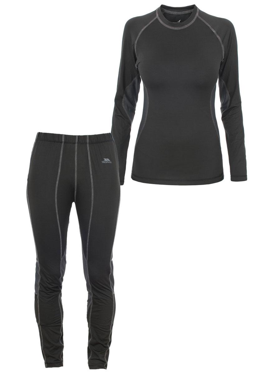 Термобелье женское Trespass Tonic: лонгслив, брюки, цвет: черный. FABLSEG20001. Размер XS (42)FABLSEG20001Женский комплект термобелья Trespass Tonic изготовлен из полиэстера с добавлением эластана. Он обеспечивает отвод лишней влаги, сохраняет тело сухим. Отлично подходит для занятия спортом.