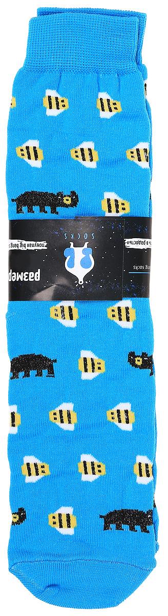 Носки мужские Big Bang Socks Медведь и пчела, цвет: голубой. s2231. Размер 40/44s2231Яркие мужские носки Big Bang Socks Медведь и пчела изготовлены из высококачественного хлопка с добавлением полиамидных и эластановых волокон, которые обеспечивают великолепную посадку. Носки отличаются ярким стильным дизайном. Удобная резинка идеально облегает ногу и не пережимает сосуды.