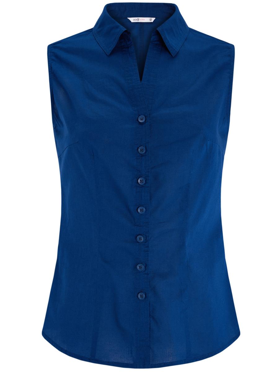 Блузка женская oodji Ultra, цвет: синий. 11405063-6/45510/7500N. Размер 40 (46-170)11405063-6/45510/7500NБлузка oodji Ultra выполнена из натурального хлопка. Модель с отложным воротником не имеет рукавов и застегивается по всей длине с помощью пуговиц. Спереди блузка дополнена элегантным V-образным вырезом.