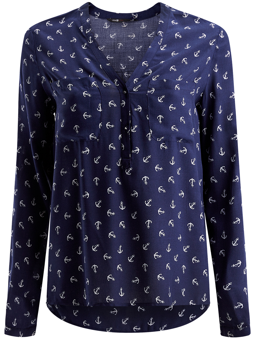 Блузка женская oodji Ultra, цвет: темно-синий. 11411049/24681/7910O. Размер 38 (44-170) блуза oodji oodji oo001ewnwa96