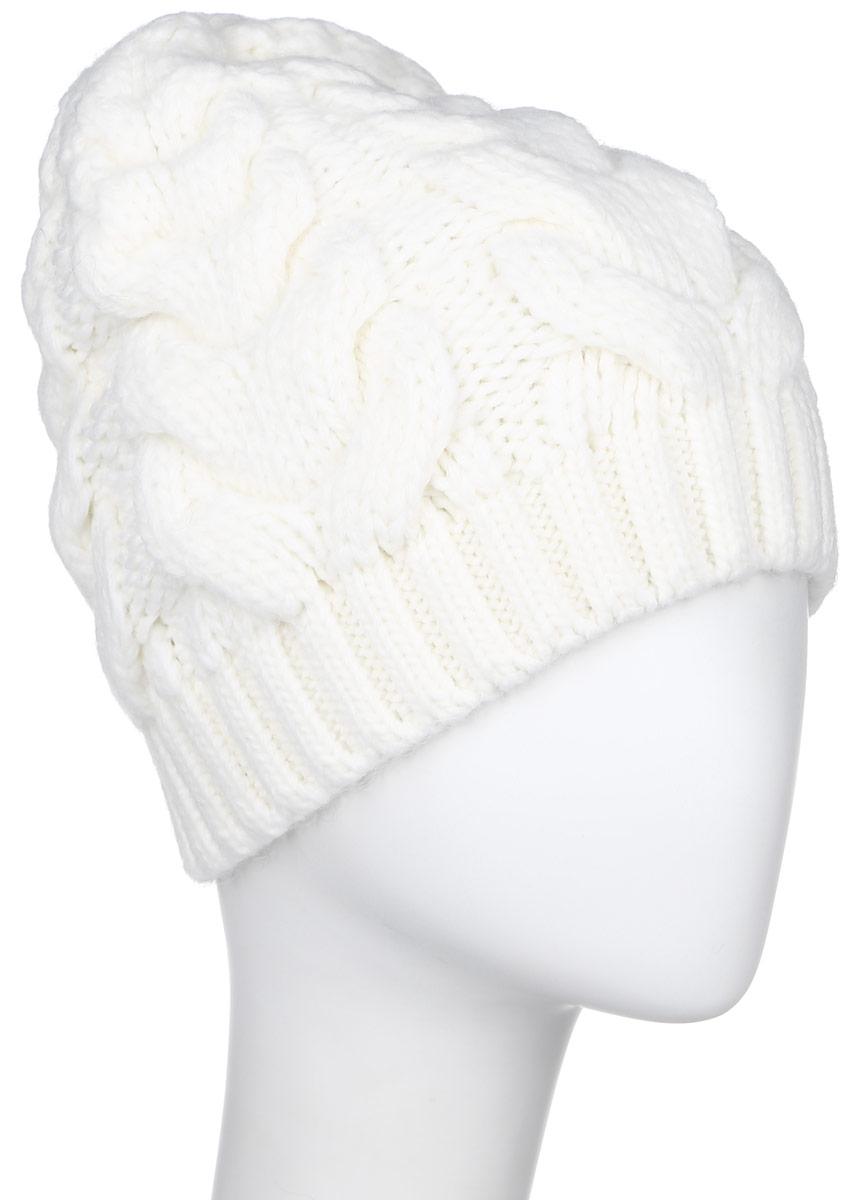 Шапка женская Finn Flare, цвет: белый. W16-32125_201. Размер 56W16-32125_201Стильная женская шапка Finn Flare дополнит ваш наряд и не позволит вам замерзнуть в холодное время года. Шапка выполнена из высококачественной пряжи, что позволяет ей великолепно сохранять тепло и обеспечивает высокую эластичность и удобство посадки.Модель оформлена металлической брендовой нашивкой.