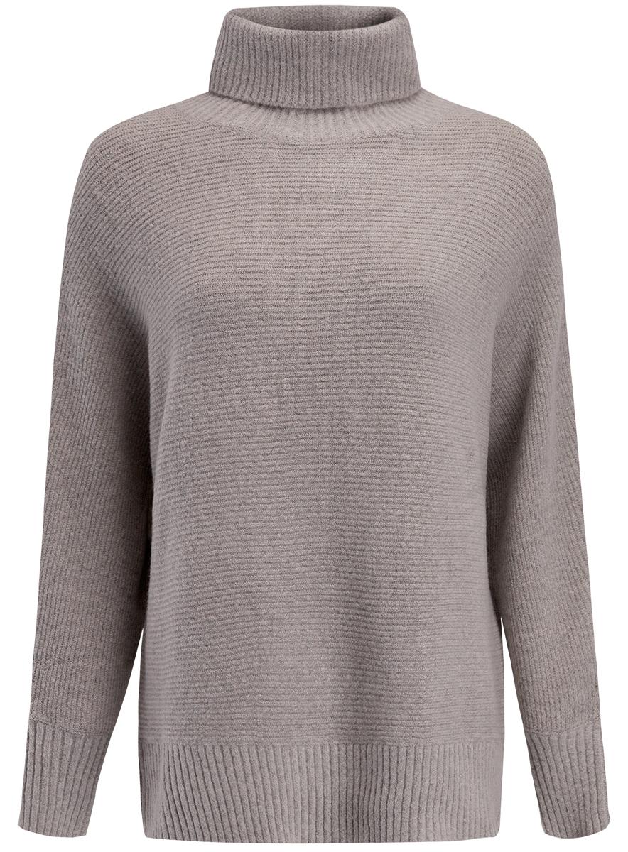Свитер женский oodji, цвет: серый. 74407105/46102/2012M. Размер XL (50)74407105/46102/2012MЖенский свитер выполнен из высококачественной пряжи. Модель с воротником-гольф и длинными цельнокроеными рукавами.