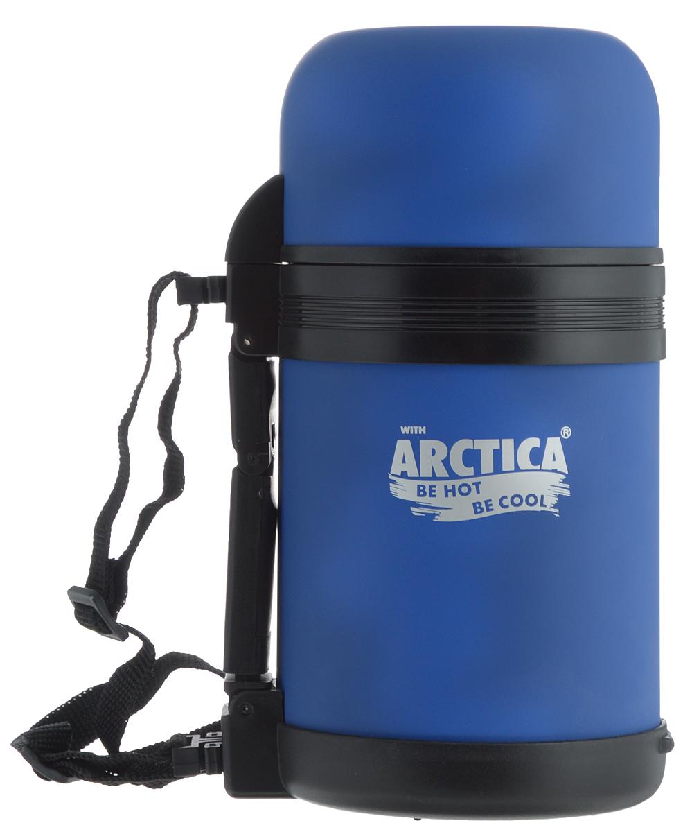 Термос Арктика, с чашкой, цвет: синий, 0,8 л203-800 синийТермос Арктика с широким горлом сохранит вашу еду или напитки горячими в течение долгого времени. Корпус выполнен из высококачественной нержавеющей стали, покрытой специальным резиновым напылением. Резиновое напыление является дополнительным термоизолирующим слоем. Крышку можно использовать в качестве стакана, так же есть дополнительная чашка и удобный ремешок для переноски. Пробка термоса состоит из двух составных частей: узкая для напитков, широкая для еды. Он составит компанию за обеденным столом, улучшит настроение и поднимет аппетит, где бы этот стол не находился. Пусть даже в глухом отсыревшем лесу, где даже развести костер будет стоить немалого труда. Забудьте об этих неудобствах - вместительный и компактный термос Арктика с радостью послужит вам в качестве миниатюрной полевой кухни, поднимет настроение нарядным внешним видом и вкусной домашней едой.Диаметр горлышка для напитков: 4,2 см.Диаметр горлышка для еды: 7,5 см.Диаметр основания: 10,7 см.Высота (с учетом крышки): 21 см.Время сохранения температуры (холодной и горячей): 18 часов.