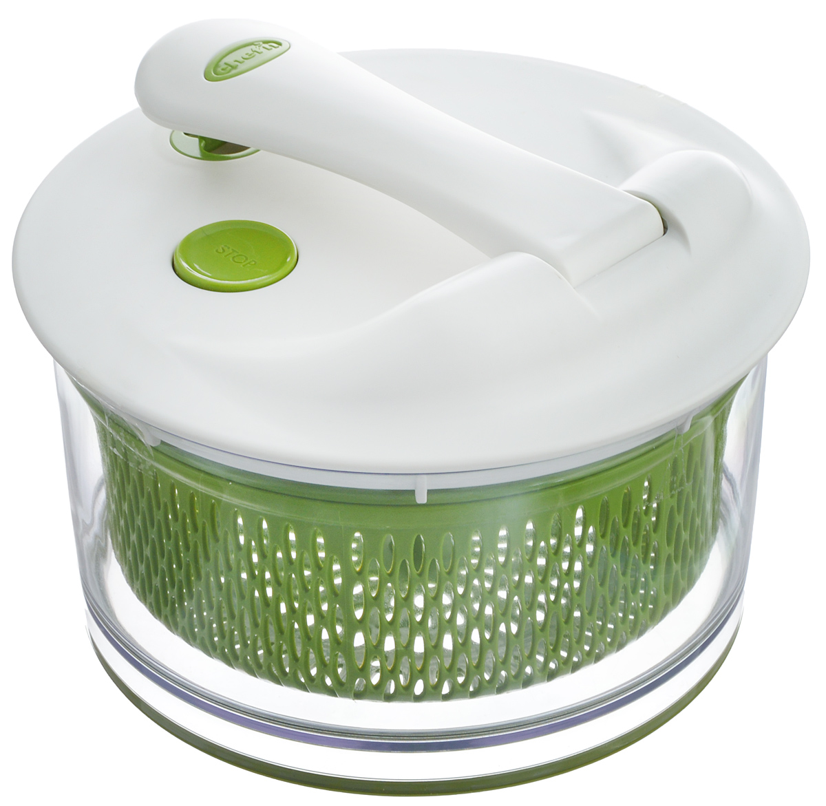 Сушилка для зелени Chefn, цвет: белый, салатовый, прозрачный104-091-011Сушилка Chefn, выполненная из пищевого пластика, предназначена для подготовки зелени к подачи на стол, приготовлению салатов и консервированию. С ее помощью вы можете чисто вымыть и высушить свежую зелень, овощи и фрукты за пару минут. Конструкция центрифуги включает в себя чашу, которая также может быть использована в качестве салатника, и внутреннюю сетку для сушки всех видов овощей и фруктов. Она позволяет хранить овощи в холодильнике более длительное время. Сушилка легко моется и разбирается, что гарантирует максимальную гигиену. Механизм приводиться в движение одним нажатием на ручку. На крышке имеется кнопка останавливающая центрифугу. Функциональность, прочность и универсальность сделают такую сушилку незаменимым аксессуаром для приготовления ваших любимых блюд. Объем чаши: 4 л.Диаметр чаши: 20 см.Высота чаши: 11 см.Диаметр сетки: 18 см.Диаметр крышки: 21,5 см.Длина ручки: 16,5 см.