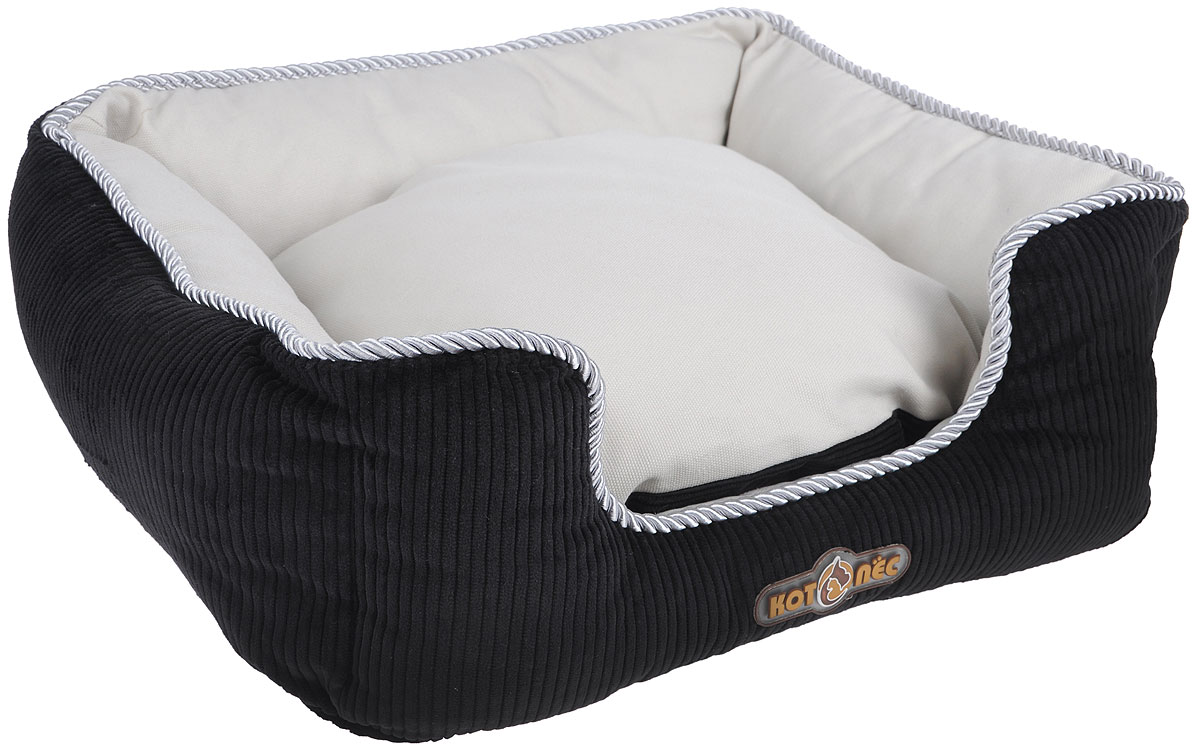 Лежак для животных Котопес Вельвет-Канвас, цвет: черный, серый, 59 х 51 х 22 см лежак для кошек и собак гамма 58 х 38 х 22 см