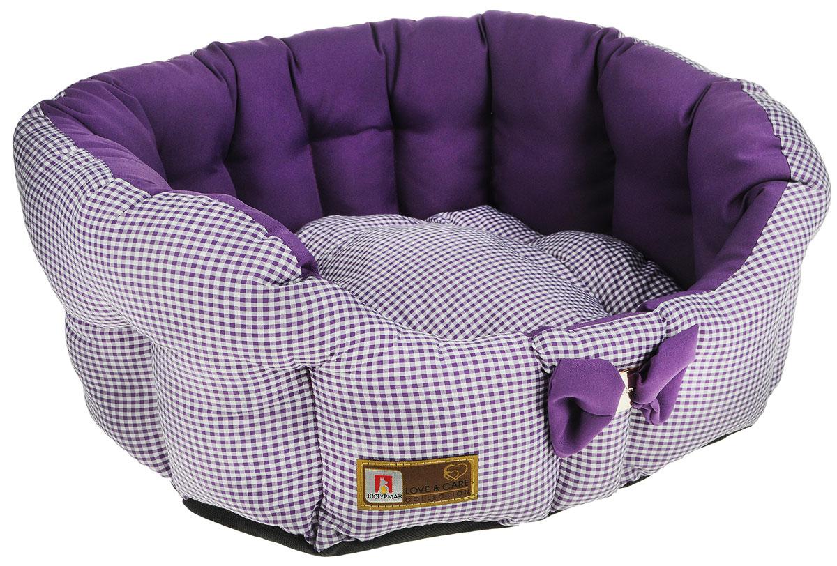 """Лежак для собак и кошек Зоогурман """"Каприз"""", цвет: фиолетовый, диаметр 45 см"""