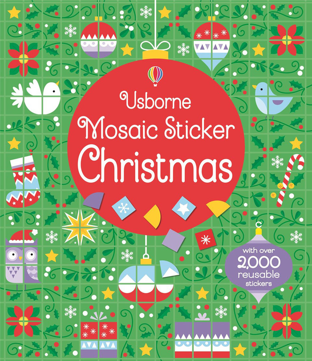Mosaic sticker Christmas fold out christmas market to colour