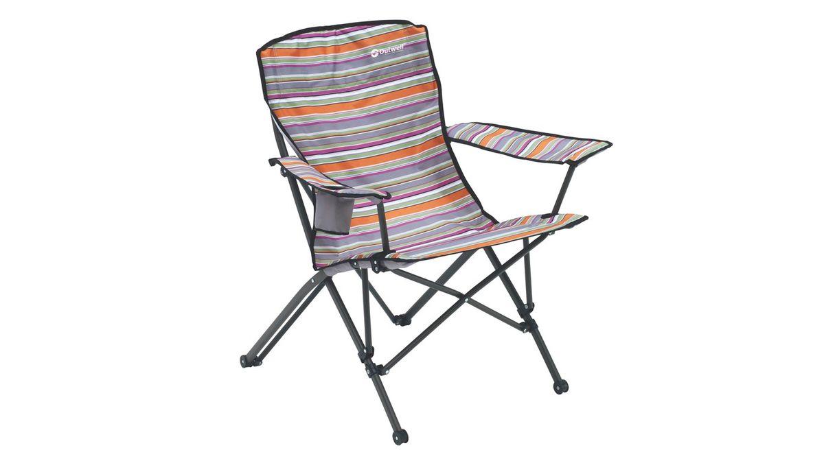 """Кресло складное Outwell """"Rosario Summer"""" имеет изящный дизайн со стильным рисунком ткани в современных цветах. Каркас из высокопрочной стали и высококачественный износостойкий полиэстер являются основой надежной эксплуатации изделия. Изделие оснащено подлокотниками и подстаканником."""