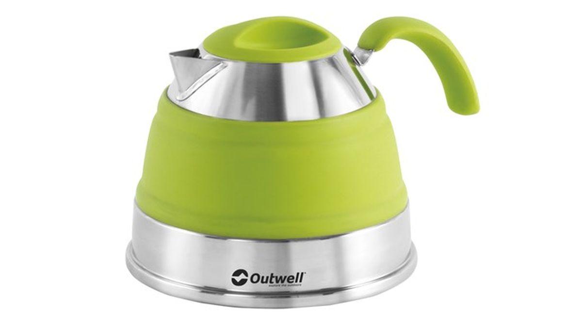 Чайник Outwell Collaps Kettle, цвет: зеленый, 1,5 л650127Складной чайник Outwell Collaps Kettle Plum позволит нагревать воду даже на открытом огне. Его яркий дизайн отлично впишется даже в домашнюю кухню. Данная модель в сложенном состоянии практически плоская. Это делает его удобным для пеших походах, когда место в рюкзаке ограничено. Чайник противоударный, а мыть его можно в посудомоечной машине.Размер чайника в сложенном виде:45 x 16,5 x 16,5 см.